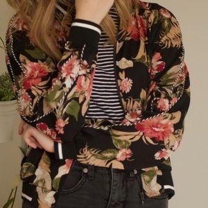 Xhilaration Black Floral Pink Bomber Jacket